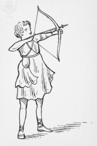 Black and white illustration of Roman goddess Diana holding a bow and arrow