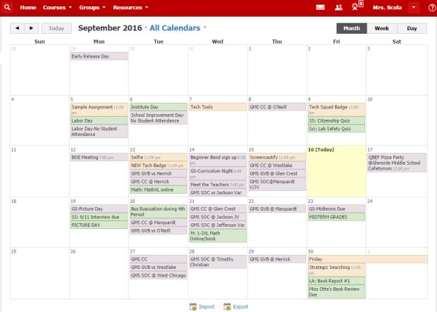 calendar-schoology